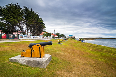 Old cannons on the shore of Stanley, capital of the Falkland Islands, South America