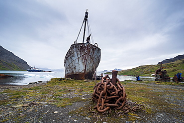 Old whaling boat, in the former whaling station, Grytviken, South Georgia, Antarctica, Polar Regions