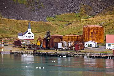 Former whaling station Grytviken, South Georgia, Antarctica