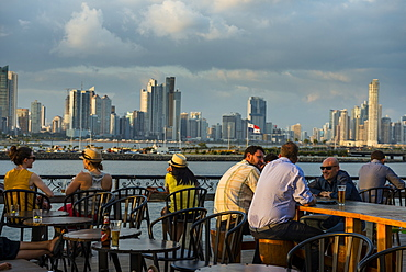 Bar in Casco Viejo overlooking the skyline of Panama City, Panama, Central America