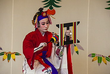 Traditional dressed dancer, Shuri Castle, UNESCO World Heritage Site, Naha, Okinawa, Japan, Asia