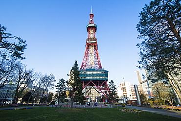 TV tower in downtown Sapporo, Odori Park, Hokkaido, Japan, Asia