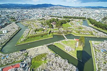 Star shaped Fort Goryokaku in the cherry blossom, Hakodate, Hokkaido, Japan, Asia