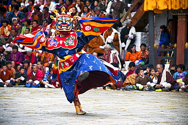 Traditional dancers at the Paro festival, Paro, Bhutan, Asia
