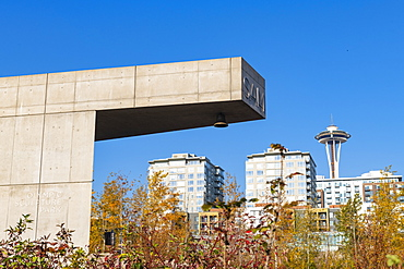 Space Needle from Olympic Sculpture Park, Seattle, Washington State, United States of America, North America
