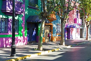Colourful streets of Bellavista, Santiago, Chile, South America