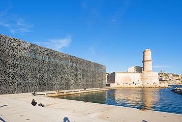 MUCEM and Fort Saint Jean, Marseille, Bouches du Rhone, Provence, Provence-Alpes-Cote d'Azur, France, Europe