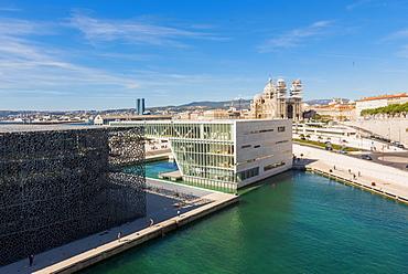 MUCEM and Cathedrale La Major, Marseille, Bouches du Rhone, Provence, Provence-Alpes-Cote d'Azur, France, Europe