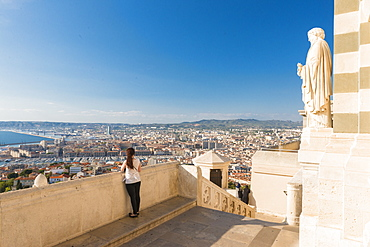 View over the Old port from Notre Dame, Marseille, Bouches du Rhone, Provence, Provence-Alpes-Cote d'Azur, France, Europe