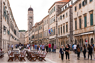 Stradun (main street) in Dubrovnik's old town and the Franciscan Church and Monastery