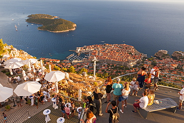Aerial view of the old town from a restaurant on top of Srd mountain Dubrovnik, Croatia, Europe