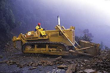 Construction, bolivia. Road building in the yungas region