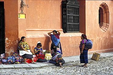 Native quiche woman selling crafts, guatemala. Antigua