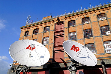 Uk satellite dishes at the ap hq in camden, london