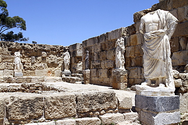 Statues in the ancient Roman ruins of Salamis, near Famagusta, in Turkish occupied north Cyprus