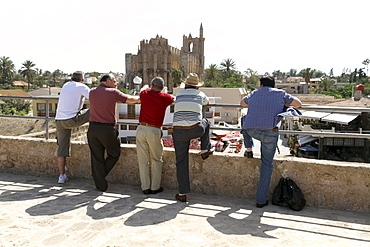 Tourists in the historic walled city of Famagusta, in Turkish occupied North Cyprus