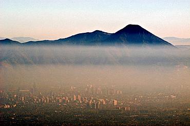 Air pollution, chile. Santiago de chile.