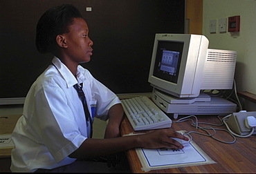 Education, botswana. Computer lab in a secondary school in gaborone