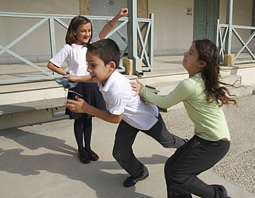 Cyprus.Children play at school near Green Line in Nicosia dividing the Republic of Cyprus and Turkish controlled north