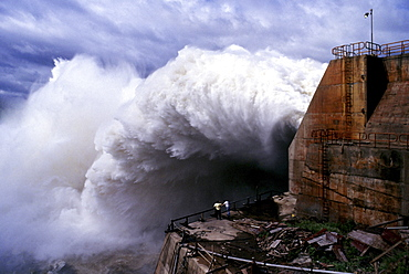 Hydro energy, brazil. River parana. itaipu hydroelectric power plant