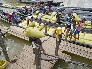 Porters carrying sacks of rice, Inle Lake, Shan State, Myanmar (Burma), Asia