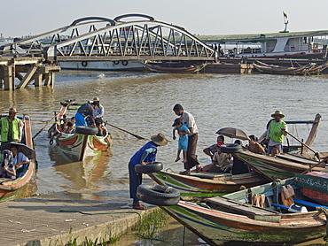 Passenger and fishing boats in the harbour in Yangon (Rangoon), Myanmar (Burma), Asia