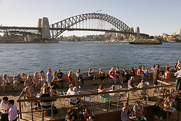 Bars and restaurants by the Opera House and Harbour Bridge, Sydney, New South Wales, Australia, Pacific