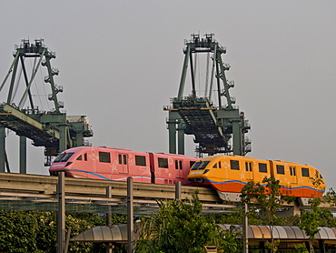 Monorail shuttle to Sentosa Island in Singapore, Southeast Asia, Asia