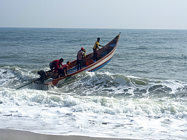 Fishermen on a boat at the French union territory of Pondicherry, Tamil Nadu, India, Asia
