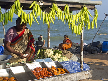 Fruit and vegetable vendors on the beach in the French union territory of Pondicherry, Tamil Nadu, India, Asia