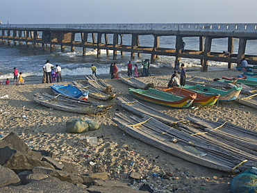 Fishing boats on the beach at the French union territory of Pondicherry, Tamil Nadu, India, Asia