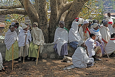 Pilgrims during the Easter Orthodox Christian religious celebrations in the ancient rock-hewn churches of Lalibela, Ethiopia, Africa