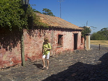 Tourists in the old colonial town of Colonia in Uruguay, South America