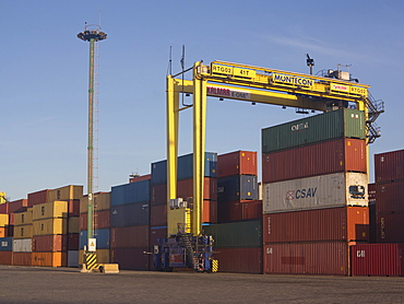 Containers with imported goods at the harbour in Montevideo, Uruguay, South America