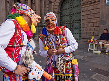 Native Quechua people celebrate the day of San Jeronimo, the patron saint of the city, San Jeronimo District, Cusco, Peru, South America