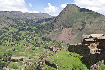 Ruins of the Inca archaeological site of Pisac near Cusco,  Peru, South America