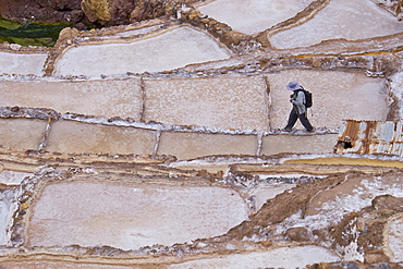 Maras Saltpan Salinas in the Sacred Valley of the Incas, near Cusco, Peru, South America