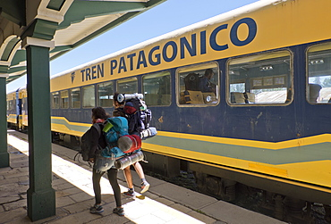 Tourists arriving in the Patagonian train in Bariloche, Argentina, South America