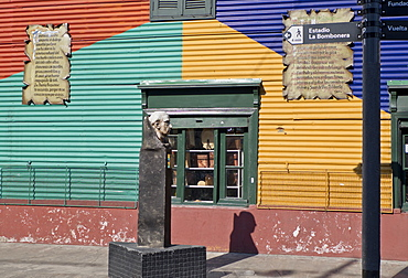 Statue of famous local painter Quinquela Martin at Caminito alley in the Boca, old Italian quarter of Buenos Aires, Argentina, South America