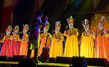 The murga Araca la Cana performing during Carnival at the Teatro de Verano in Montevideo, Uruguay, South America