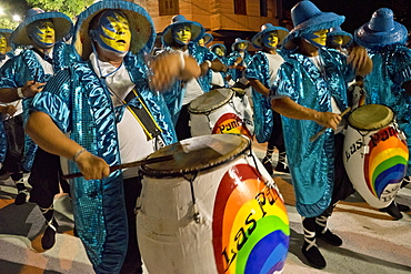 Traditional Murgas and samba schools performing on the streets during Carnival in Montevideo, Uruguay, South America