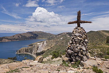 Cross and altar on island of the Sun on Lake Titicaca, Bolivia, South America