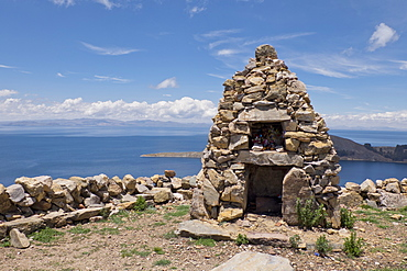 Traditional Inca first nation stone altar on the Island of the Sun on Lake Titicaca, Bolivia, South America