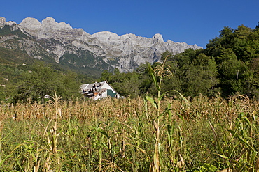 View of the Albanian Alps near Thethi, on the western Balkan peninsula, in northern Albania, Europe
