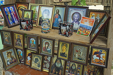Icons for sale outside the Bodbe Christian Orthodox Monastery near Signagi, Georgia, Central Asia, Asia