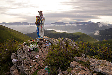 Statue of the Virgin at Christian pilgrimage route at Camino de Santiago (St. James' Way) near St. Jean,France,, Europe