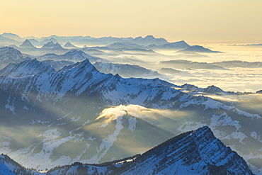 View from Saentis, Appenzell, Swiss Alps, Switzerland, Europe - 1189-60