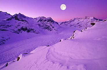 Swiss alps, mountains, wannenhorn, wannenhoerner, aletschhorn, 4195 m, aletsch glacier, switzerland, wallis, view from the bettmerhorn, full moon, dusk, digital composition