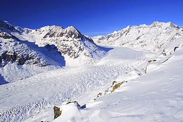 Swiss alps, mountains, wannenhorn, wannenhoerner, aletsch glacier, switzerland, wallis, view from the bettmerhorn