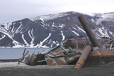Whaling station, antarctica. Deception island. Remains of whaling station